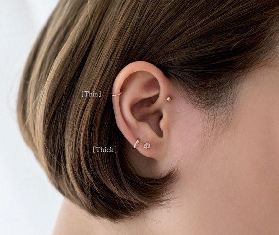Tiny cartilage hoop Sterling Silver cartilage hoop earrings