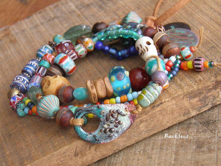 Bracelet nomade triple rangs,bracelet hippie,bracelet bohémien,vintage,turquoise,bleu,naturel,style rustique,look bohème : Bracelet par rare-et-sens