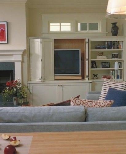 built in -great ways to incorporate televisions into living rooms, it just takes a little extra planning and foresight. The ultimate solution is to hide it away when not in use, or flush mount it inside the wall or built-in cabinet.