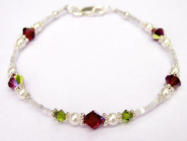 Red Roses Swarovski Crystal Beaded Bracelet