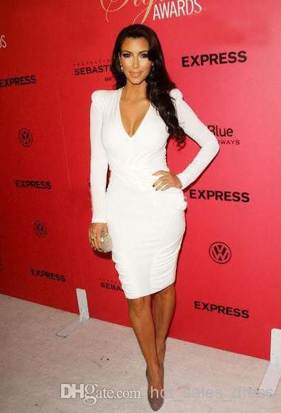 Free shipping, $83.88/Piece:buy wholesale Hot Sale 2014 Kim Kardashian Sexy Deep V-Neck Knee-Length Evening Dresses White Graceful Simple Long Sleeves Celebrity Dress Cocktail Gown from DHgate.com,get worldwide delivery and buyer protection service.