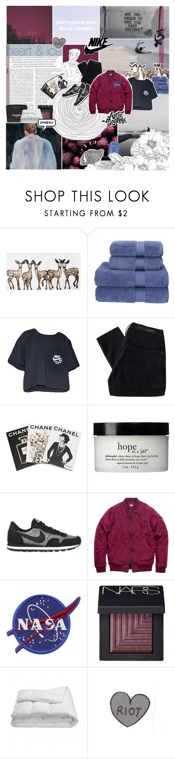 """""""the air diving i my lungs"""" by nanarachel ❤ liked on Polyvore featuring Christy, NIKE, Nobody Denim, Assouline Publishing, philosophy, NARS Cosmetics, Chanel, Frette, Old Navy and women's clothing"""