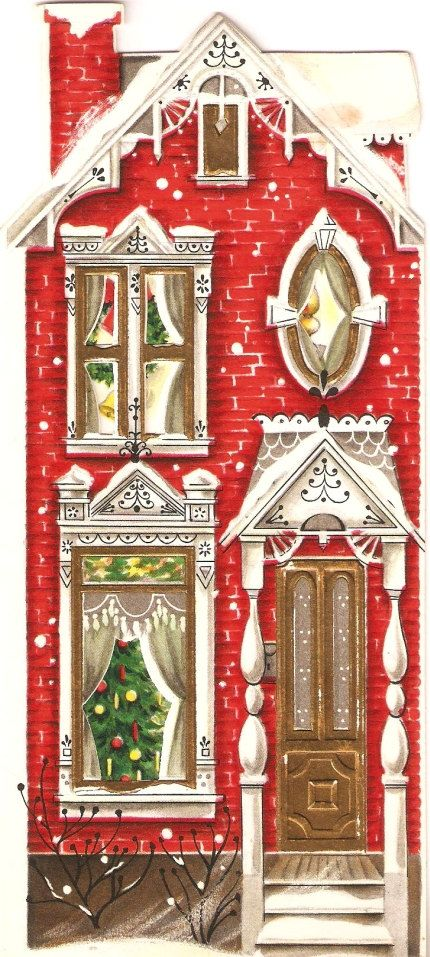 Pretty House Vintage Christmas Card
