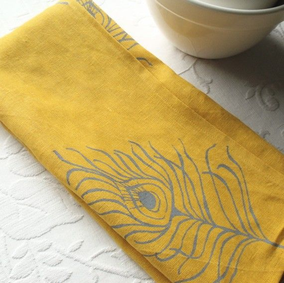 Linen Dish Towel- Mustard Yellow with Gray Peacock Feathers
