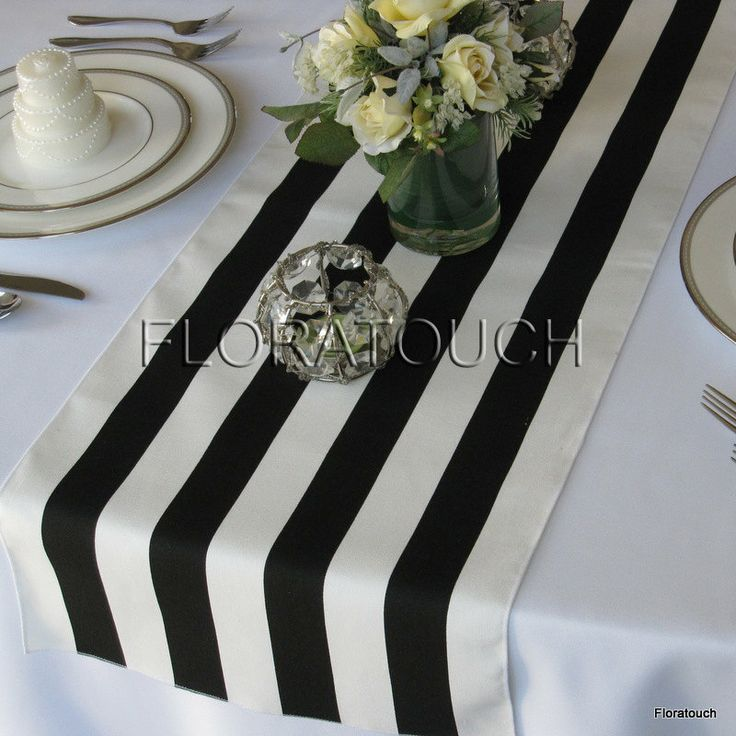 Black and White Stripe Table Runner Wedding Table by floratouch, $11.00