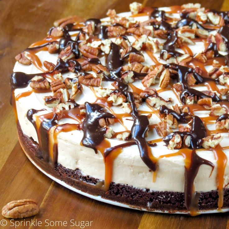 No-Bake Caramel Turtle Cheesecake. I use the DULCE DE LECHE CHEESECAKE recipe and actually bake my cake and use the caramel sauce mixed into cake.