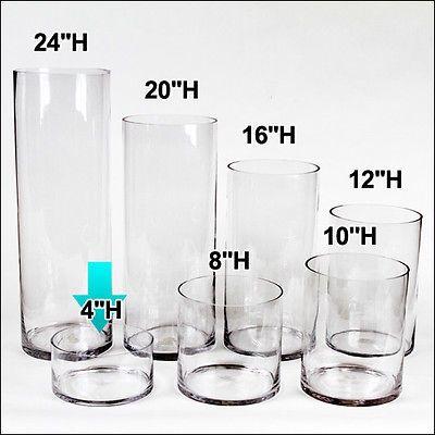 7 40 Ea 8 Pcs 8 W X 4 H Clear Glass Cylinder Vases Wedding