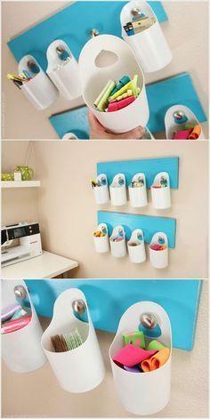 Make hanging bins from bleach bottles.