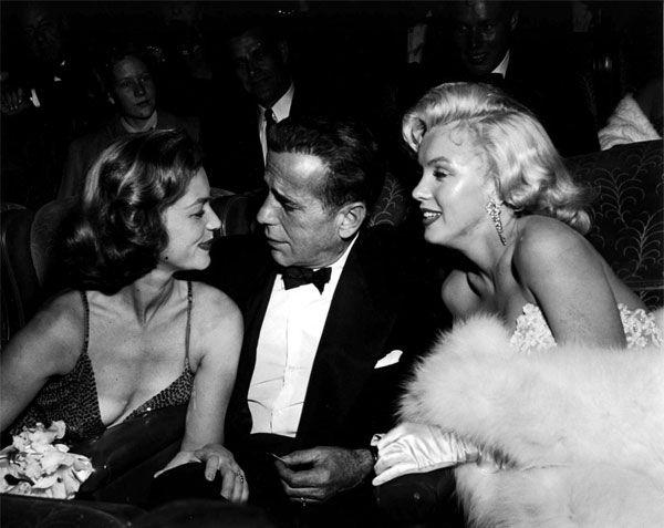 Lauren Bacall, Humphery Bogart y Marilyn Monroe.