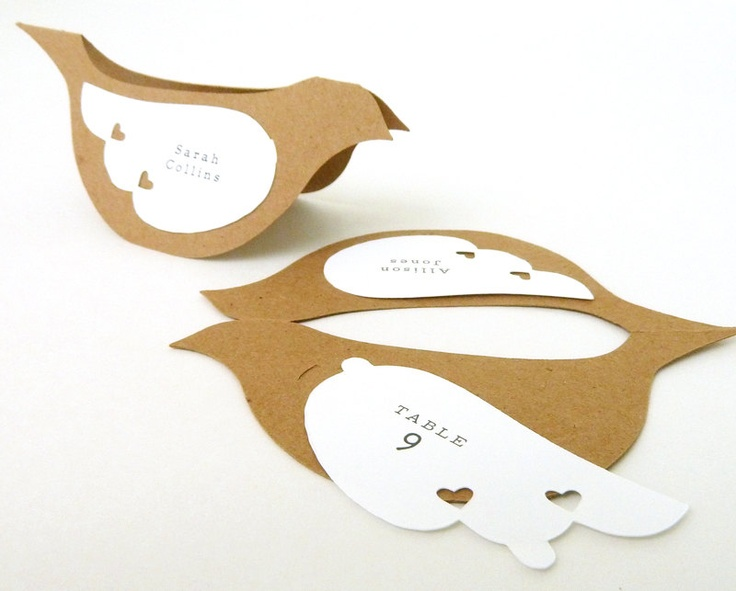 Bird Place Cards or Escort Cards - Rustic Country Kraft Paper Dove Table Tents - Set of 20 Blank Wedding Name Cards. $30.00, via Etsy.
