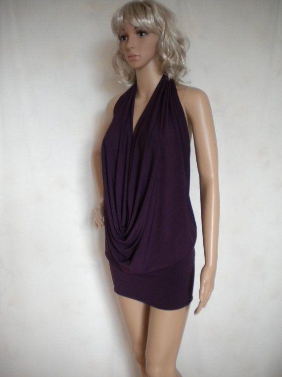 backless drape halter top sexy mini dress made by EcoFriendlyForU