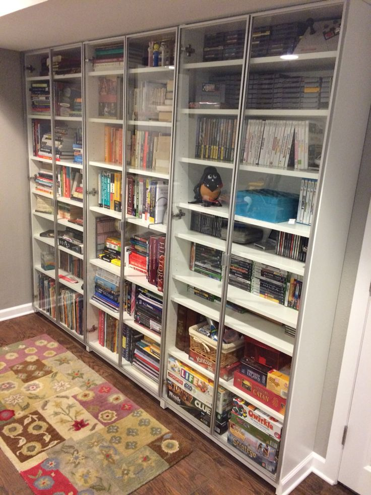 3 Ikea Billy Bookcases With A Few Extra Shelves And Oxberg Gl Doors Built