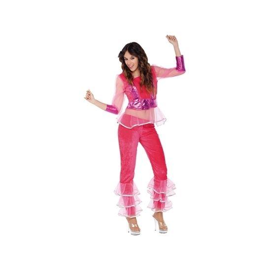 Disco kostuum roze voor dames. Dit groene disco kostuum voor dames bestaat uit het shirt en de broek.