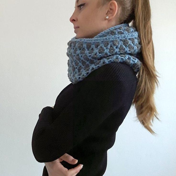 #crochetcowl #staywarm #bluegrey