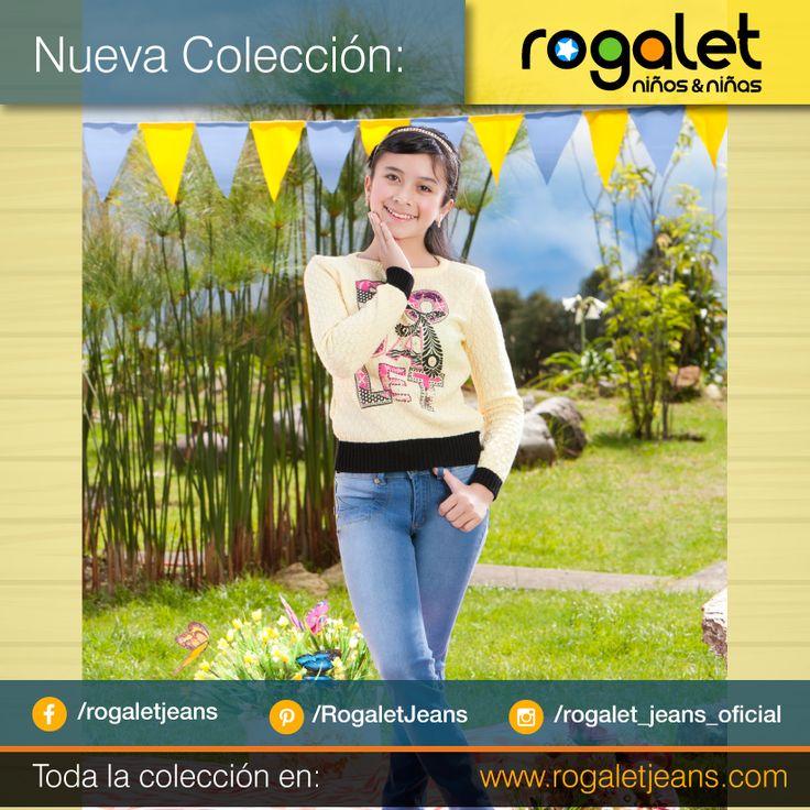 Buso amarillo en hilo para niña, jean claro talla 12 para niña   www.rogaletjeans.com