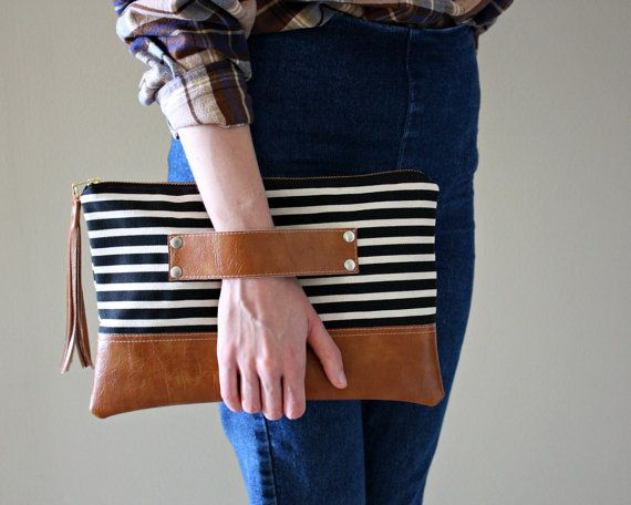 Black and Ivory Striped Canvas Clutch / Kindle by SweetPeaTotes