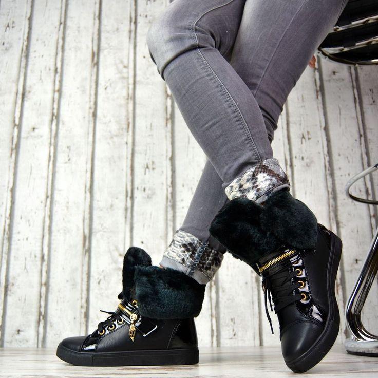 GEFÜTTERT Winter Damenschuhe Boots Stiefeletten Luxus Schwarz Kunstfell Sneaker