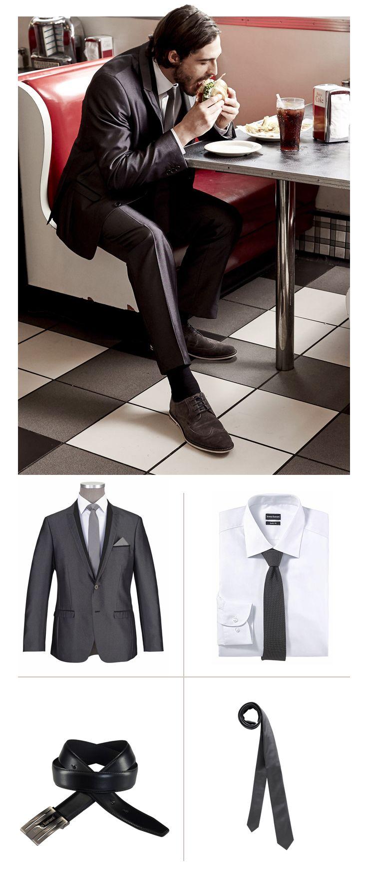 Business-Style Highlight dieses smarten Business-Looks von Bruno Banani ist der anthrazitfarbene, leicht schimmernde Anzug mit Nadelkopf-Optik und schmaler Passform. Hemd, Krawatte und Koppelgürtel kommen ebenfalls Bruno Banani.