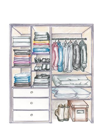 Sometimes an informal wardrobe calls for an entirely different approach to closet organization. If all your clothes can easily be folded, it may make sense to eliminate hanging storage entirely, or at least limit it. Instead, use a mix of cubby and open shelving, drawers, and storage accessories such as hooks that better suit the simple nature of the clothes. The additional shelving gives you the flexibility to use other containers such as boxes, bins, and slide-out trays.