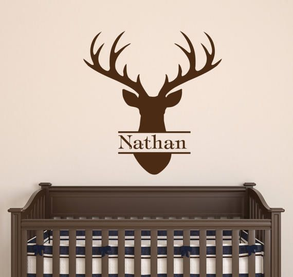 Personalized Name Wall Decal Deer Head Decal Boy Name Vinyl Decal Deer  Antler Decal Horns Hunting