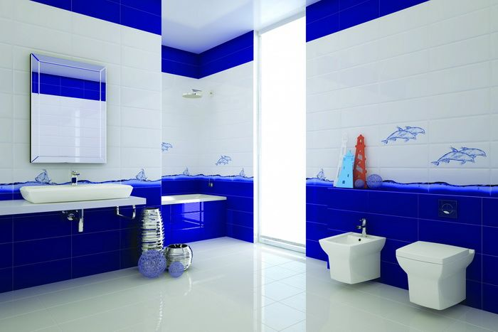 керамическая плитка  для ванной комнаты с рисунком море - Cersanit DeepBlue
