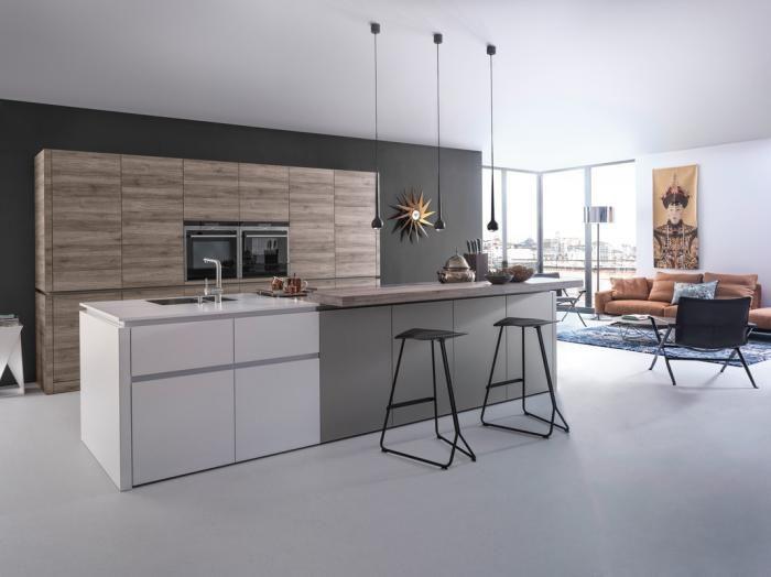 cuisine avec ilot, cuisine contemporaine en blanc et gris espace ouvert