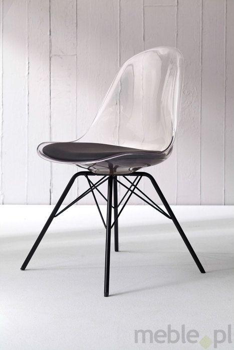 Tenzo Krzesło Bonni Transparentne Nogi Metalowe Porgy Czarne - BonniPorgy-T-C, Tenzo - Meble