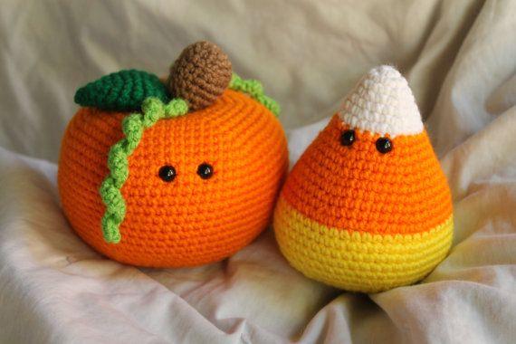 Percy the Pumpkin and Cameron the Candy Corn  Amigurumi Plush