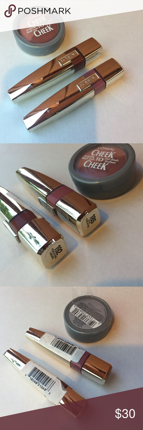 L'Oreal Lips & Face Stocking Stuffer Bundle! Full Size Brand New.  Two Gorgeous Lip Gloss Colors & complementary shades of Blush in a duo compact.  This bundle includes lip gloss number 185 in lilac ever after, lip gloss number 192 in everlasting caramel and cheek to cheek sculpting blush duet in precious plum. L'Oreal Makeup