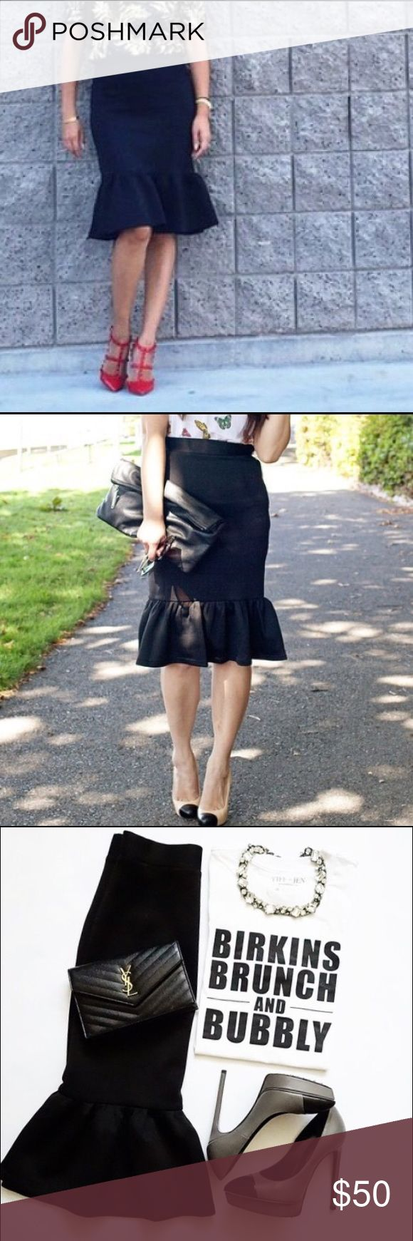 Adorable Black Peplum Skirt Size Small Size small, new without tags, black peplum skirt! Super classy and oh so stylish! Skirts Midi