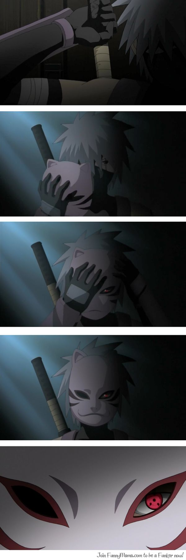 """ANBU Kakashi. Is it wrong that I wanted him to go """"meow"""" when he put the mask on? Yes ok sorry ~-~. Wait I'm not sorry."""
