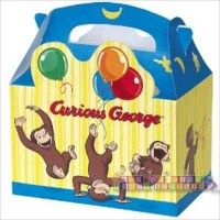 Curious George Favor Boxes  http://hardtofindpartysupplies.com/Curious-George-Birthday-Party-Supplies/Curious-George-Favor-Party-Bags-Goody-Treat-Loot-Goodie-Sacks-Boxes