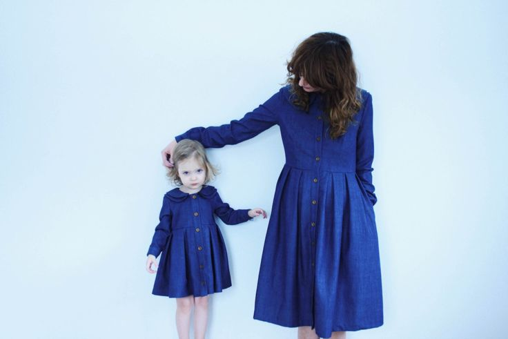 Matching Mother and Daughter Dresses - Vintage Denim Dresses - Blue Denim Dresses - Double Collar Dresses - Handmade by OFFON par OffOn sur Etsy https://www.etsy.com/fr/listing/222287136/matching-mother-and-daughter-dresses