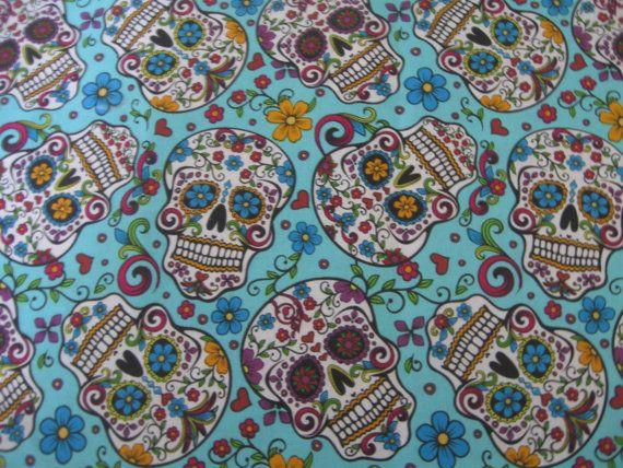 SALE sugar skulls teal  fabric by the yard by MilkyBabyBoutiqueLLC