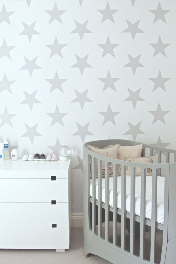 Leander Cot, Coral U0026 Tusk Pillows, Starry Wall Decor And West Elm Dresser.