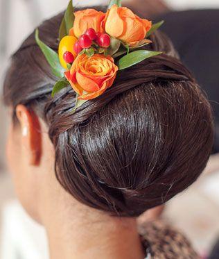 апельсиновая свадьба, причёска невесты