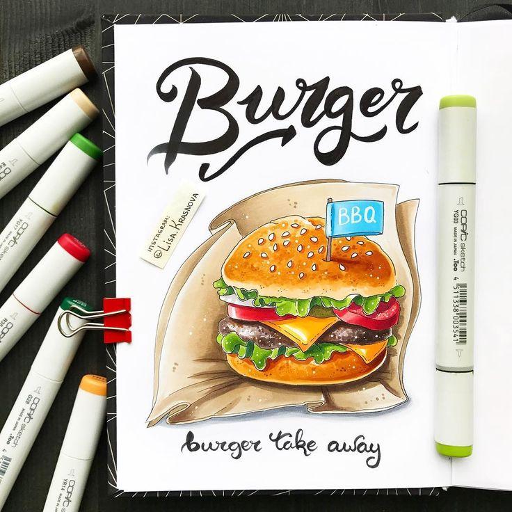 What do you think about #burgers?   Продолжаю рисовать вредную еду :) Что вам больше по душе - сладкие пирожные или бургеры с хрустящей картошкой фри? Может быть, здоровые зеленые салатики? ;) Кстати! Все, кто спрашивал меня про мои комплекты маркеров - ликуйте! В @do_sketch промокоду cha0tica сейчас на них скидка аж 20%! Есть и копики и более бюджетные аналоги. Палитра - моя любимая ;)