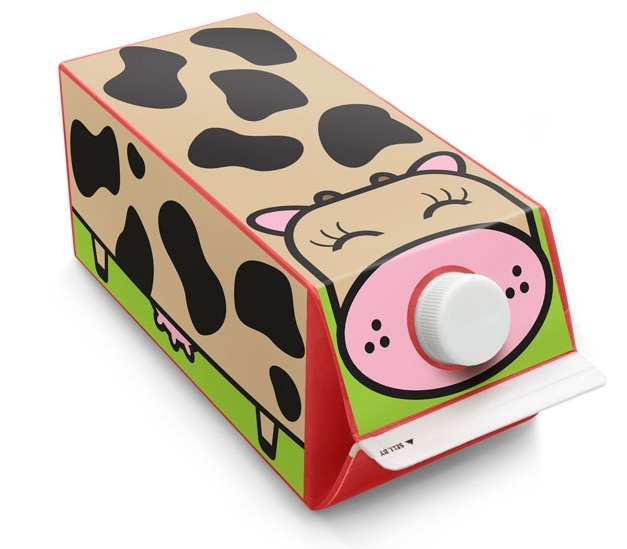 Eco-Friendly stickers for Milk/Juice Cartons - Cow