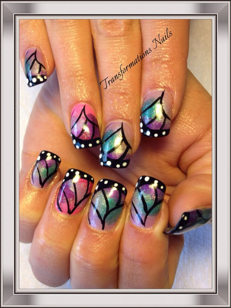 #butterfly nail #freehand #coulor nail.