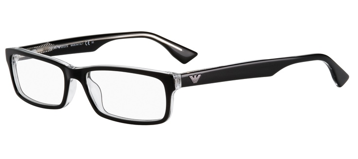A simple, flattering shape in a classic black acetate, with a second layer in transparent crystal that will allow light to illuminate the eye area.   2 pairs complete $299  ref: 25635065