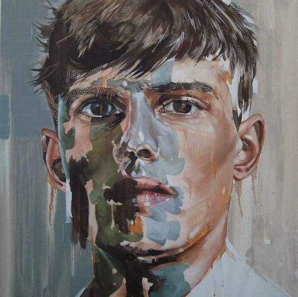 """Youth without youth"" Oil on canvas, 80 x 80cm. From the ""Otherness"" series by Corné Eksteen"