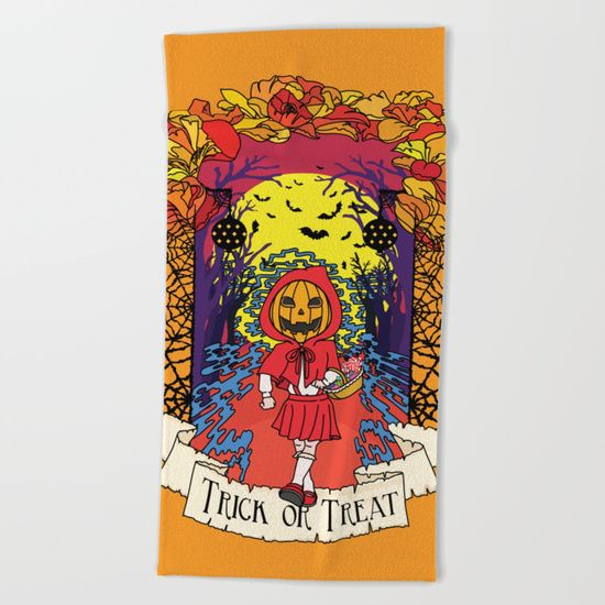 Jack o Red Riding Hood Beach Towel by Little Monster on Society6. Shop art online
