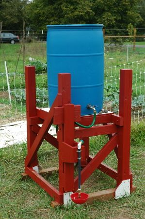 farmfolly.com  rain barrel chicken waterer