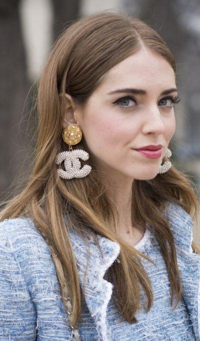 Chiara Ferragni's Chanel earrings at PFW.