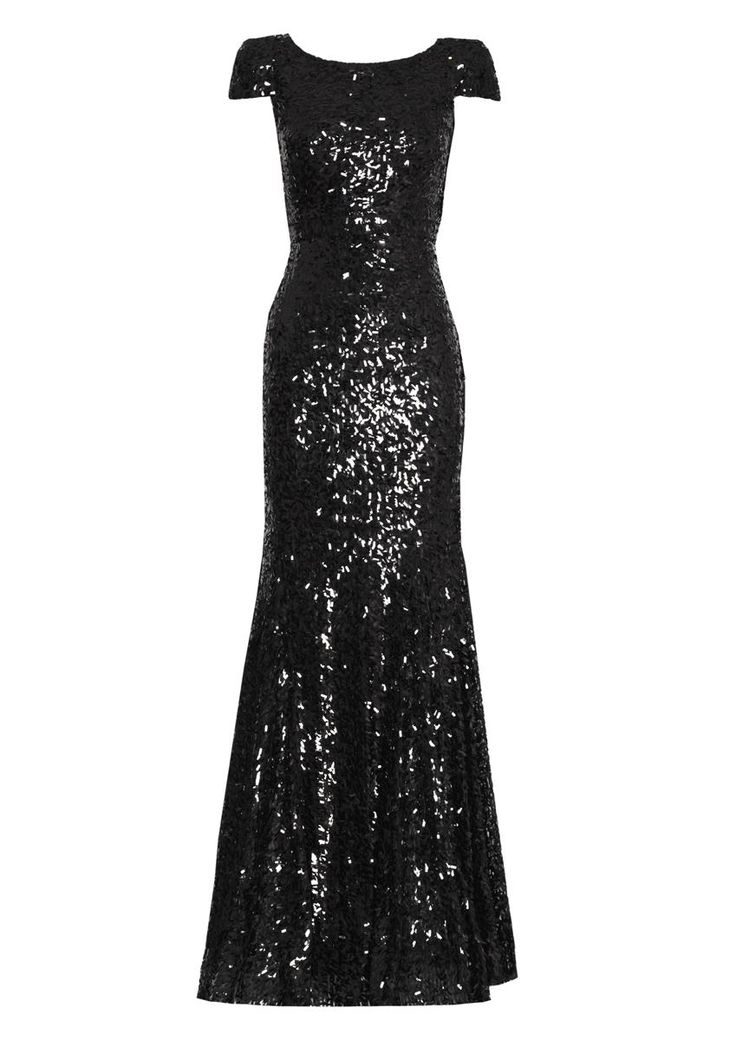 rachel gilbert black sequin gown