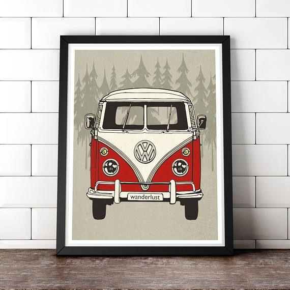 VW Art vw Print wanderlust print VW Minibus Art Volkswagen