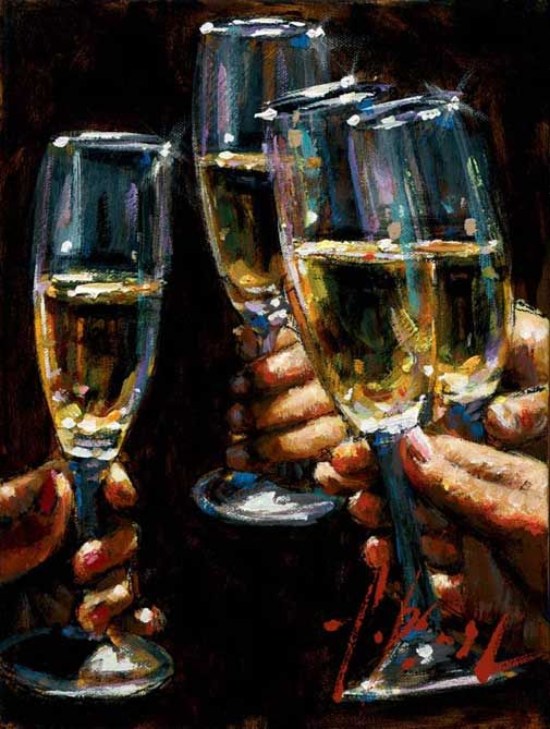 Fabian Perez ~ ''Brandis con Champagne'' (2010).  (I love his depiction of glass and clear liquid here)