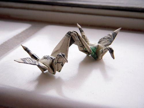 Dollar origami: 2 cranes by Won Park | Flickr: partage de photos!