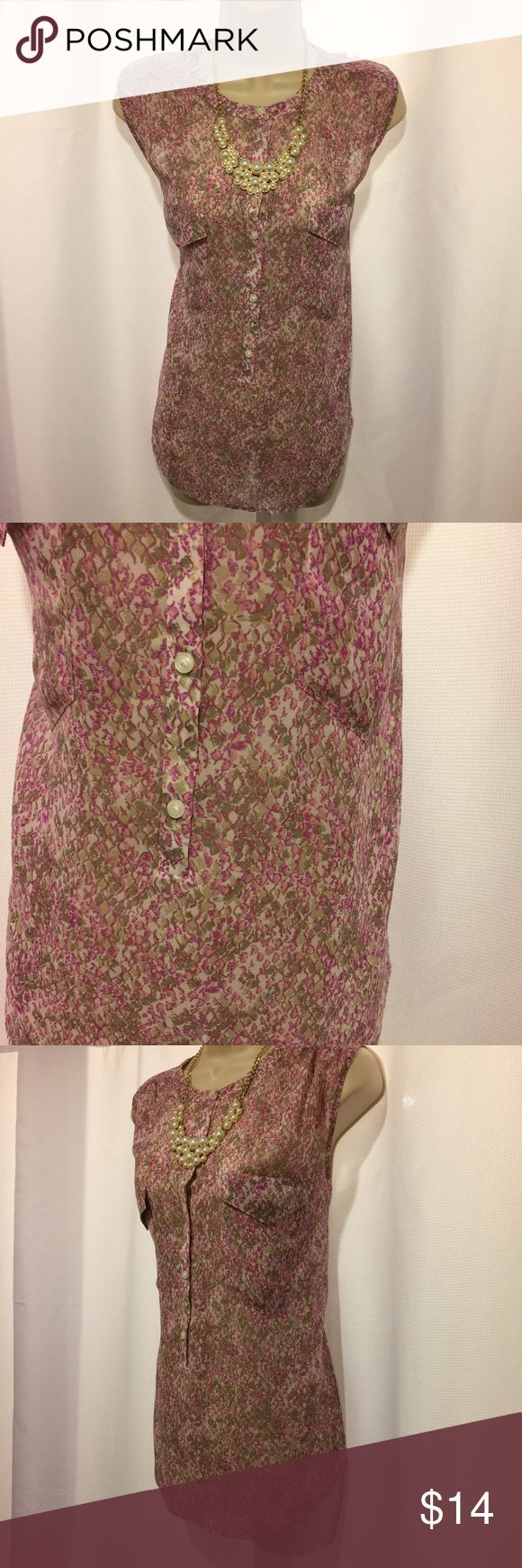 ANN TAYLOR LOFT Pink Python Print Shell Ann Taylor Loft sleeveless top in dark pink python print.  Slightly sheer.  Pockets in front.  Buttons part way down the shirt.  27 inches from shoulder to bottom hem.  Polyester.  Super cute and in excellent condition! LOFT Tops Blouses