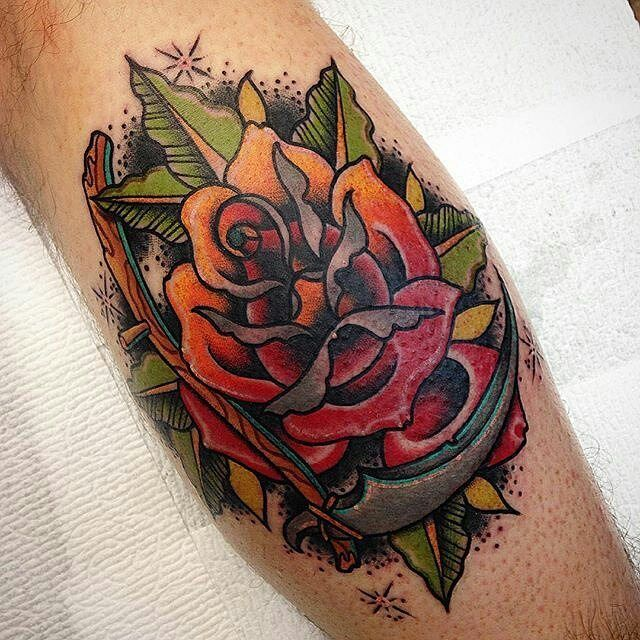Rose scythe tattoo by zachbowdentattoos at a tattoo for Rose tattoo parlor